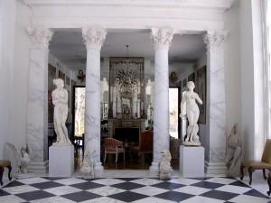 faux marbre in formal loggia