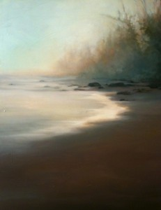 painting of a beach in the rain