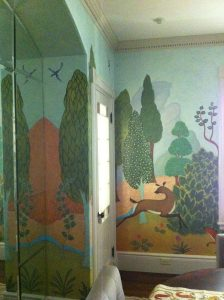 leaping deer in a fantasy landscape
