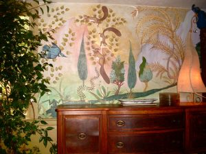 squirrels, kingfisher and from in a dining room mural